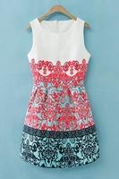 OASAP 2014  Mujeres Vestido Jacquard Sleeveless Dress Patchwork Print Flare Vestidos Women Summer Dress Casual Dress
