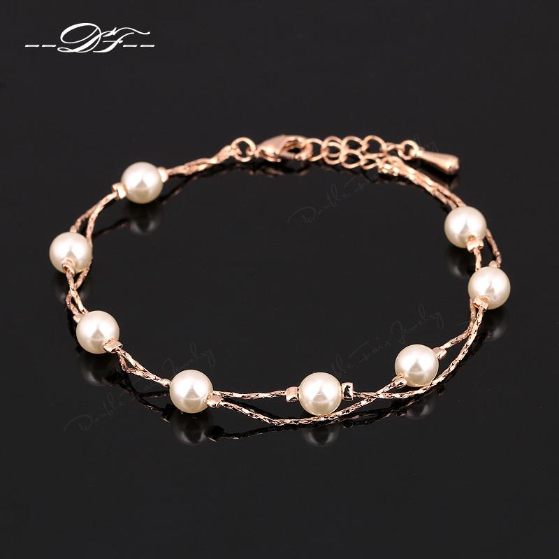 - 2014New-Elegant-Pearl-Bead-font-b-Charm-b-font-Bracelets-Bangles-Wholesale-18K-font-b-Gold