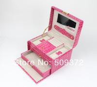 Fashionable jewelry box high quality leather jewelery storage case with lock brithday gift caja de joyas