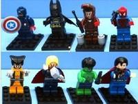 2014 new product Super Heroes 8pcs/lot The Avengers Iron Man Hulk Batman Wolverine Thor Building Blocks  DIY Bricks Toys