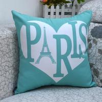 "18* 18 "" Heart Love & Eiffel Tower Printed Throw Cushion Cover as Valentine Wedding Gifts"