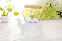 2014 Stone 1.5l white enamel with wooden handle cool water pot kettle general