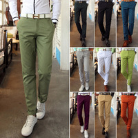 Army green trousers Mens dress pants Casual clothing Slim Straight Cotton Free shipping Famous brand New 2014 Outdoors Plus size