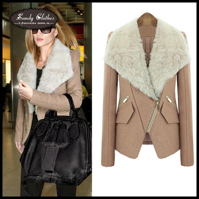 2015 Wool Blends Coat Winter Warm Woolen Overcoat Fur Collar Overcoat Short Design Slim Outerwear Female High Quality Coat Women(China (Mainland))
