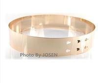 Europe Style Fashion Elegant Elastic Waistband Women Metal Mirror Face Belts Wide Bling Silver Gold Waist  Belts For Women
