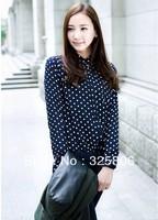 New 2014 Women Chiffon Sexy Polka Dot Print Summer long sleeve Shirt Top Button Down Blouse S/M/L/XL plus size