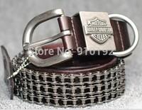 Retro Knight leather men's belts car chain rock heavy metal rivets fashion belt
