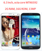 6.3'' W9208 MTK6592 Octa core High processing Android 4.3.1 OS Dual SIM 3G GPS Cell Phone FHD 1920*1080P IPS 13MP 2G RAM 16G ROM