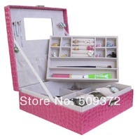 2014 fashion new leather box for jewelry gift box square 2 layers jewelry box with mirror
