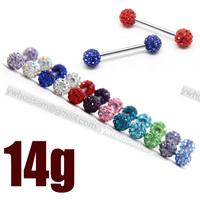 14 guage cyrstal gem disco ball nipple barbell ring bars body jewelry 40pcs/lot