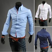 Free Shipping 2014 New Spring leisure man new shirt color ribbon decoration fashion high quality Shirts SIZE:M,L,XL,XXL,XXXL