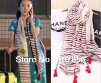 2014 Fashion New design Ladies tassel scarf Fringe scarf   Free shipping