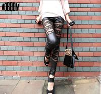 Women's Lace Leggings 2014 New Sexy Imitation Leather Pants Lace Stitching Ladies' Leggins Women Slim Pants Girls Leggings