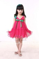 1piece free shipping high quaility girl summer clothes cotton sweety lace on-piece braces dress girl Slipdress with sash