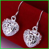 (35% off on wholesale) 925 Sterling Silver Plated Heart Drop Earrings For Women Fashion Jewelry