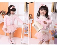 Baby Girls Clothing Sets Toddler Girl's Floral Coat+long T-shirt +Lace Skirt 3PCS Set Girl's Clothing Set