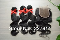 queen hair products 3pcs lot with closure,brazilian hair body wave with closure, 4pcs/  lot, free shipping