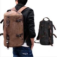 Men's Casual Vintage Canvas Backpack Messenger Rucksack school Satchel Crossbody Outdoor Hiking Camping bag Back Pack HB21