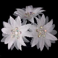 Wholesale 6pcs Lot White Flower Clear Crystal Rhinestone Diamante Women Girl Wedding Bridal Prom Party Hair Pins Clips
