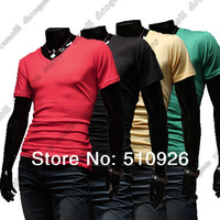 Free Shipping Fashion Brand New Men's GentleMen Slim Fit V-Neck Short Sleeve Bottoming Cotton Casual T-Shirt T Shirt