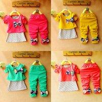 free ship retail fashion three-pieces cotton dot vest + coat + pant 4 colors fits 2-5 years kids baby girls children suits sets