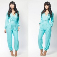 Hottest Women Summer/Autumn Long Sleeve Empire Waist Rompers Overall Sexy Jumpsuit Sky Blue/red