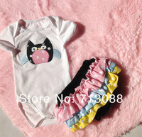 free shipping new arrival baby cotton romper with match cotton ruffle bloomer set