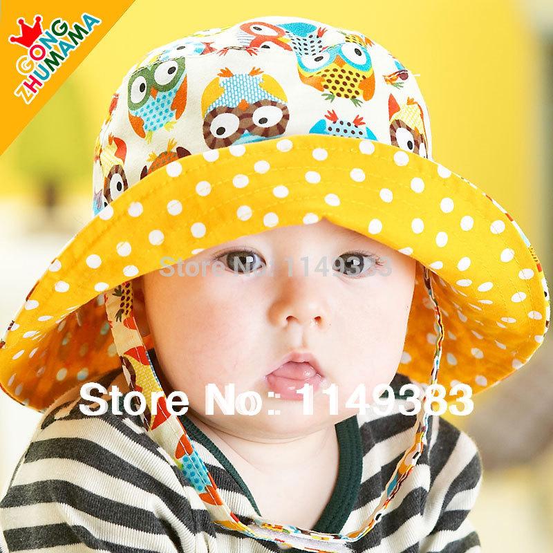 2014 Spring New Design Bonnet Baby Hat Child Bucket Hats Boys & Girls Sun Beach Cap Two Size 6 Pattern(China (Mainland))