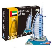 2014 New Promotion homdecor Gift popular Handmade BurjAl-Arab decoration 3D diy paper & EPS foam colorful puzzle toys WJ1001