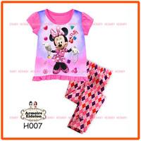 15 August Girls Minnie Mouse Pajamas Sets Kids Autumn -Summer Clothing Set New 2014 Wholesale Children Cartoon Pyjamas H007