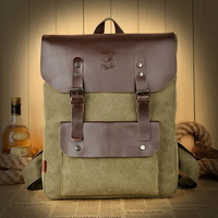 New 2014 Canvas Backpack Men School Backpacks Fashion Backpack Vintage Preppy Style Leather Bag Backpack Men's