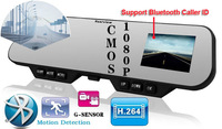 "4.3 or 2.7"" LCD 1080P Car Rearview Mirror Camera DVR Camcorders + 140 Wide Angle + G-sensor + Night Vision + Bluetooth"
