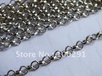 Free ship! 50meter 8mm diameter Antique silver rolo O cross jewelry link chain handmake diy findings//rose