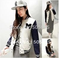 moleton college baseball Letter M moletom Varsity jacket cardigan sweatshirts plus velvet stand collar emoji sudaderas mujer