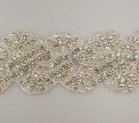 free shipping1 yard 6.5cm wide crystal rhinestone applique hot-fix for wedding dress coat hat garment costume sewing decoration
