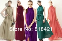 Hot Top Fasion Empire Floor-length Beach Stand None 2014 Maxi Chiffon Long Dresses Vestidos De Fiesta Growns with Belt 8 Color