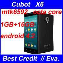 Original Cubot X6 phone MTK6592 Octa core 1.7Ghz 1gb ram 16gb rom 5″ IPS 8.0MP Android 4.2 Cell phone GPS 3G smartphone/Eva