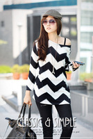 2015 new arrival long sleeve plus size black-and-white waves striped pattern tops for woman long loose t-shirt free shipping