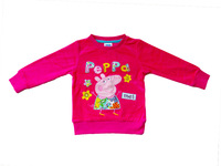 FREE SHIPPING kids wear 2014 girl'sT-shirts fashion Spring clothing applique peppa pig baby girl long sleeve T-shirts