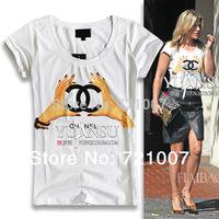 New 2014 Fashion Brief Slim Female T-shirt Short-sleeve T-shirt Clothes