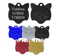 HOT Selling Free Shipping Mix Colors 23*23MM 200 Pcs/ Lot Aluminum Cat Face Shape Pet ID Tags Custom Engraved Pet tags