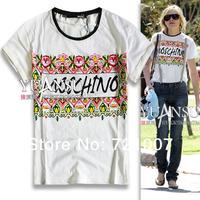 New 2014 Flowers Print Arbitraging Back Translucent Fashion Loose Short-Sleeve T-Shirt Patchwork
