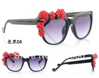 Free Shipping 2014 New Rose Flower Rim Sunglasses Women Designer  Floral Sunglasses Girl Outdoor Beach Sun Glasses   # WY145
