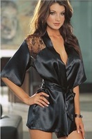 Sexy lingerie langerie hot 2014 new Satin Black Lace Kimono Dress+G string porn pajamas for women Sleepwear Baby Doll S M L