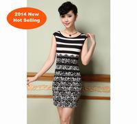 2014 Plus Size Fashion Famous Europe Elastic Women's Dresses Clothing S-3XL New hot