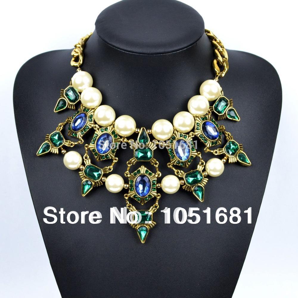 Lush retro fashion rhinestone necklace stubby crystal necklace women big pearl necklace with free shipping(China (Mainland))