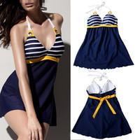 2014 Brand New Plus size Navy blue Padded Sailor Stripe one-piece Halter push up swimwear dress with  XXXL size