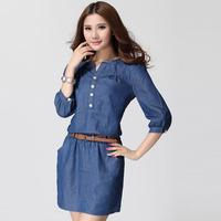 F918 L - 4XL Plus Size Clothing 2014 New Summer Hot Sell Sexy Elegant Korean Women Female Denim Jeans Casual Dress Sundress