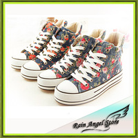 2014 Spring New Heavy-bottomed Floral Canvas Shoes Women Casual Student Sneakers  Zapatillas High-top Sneakers For Women