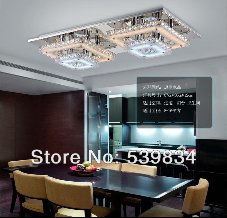 Livraison gratuite! Cristal de luxe l67cm*w30cm*h12cm plafonnier à led 48w pour salle à manger/chambre. zp14-48w